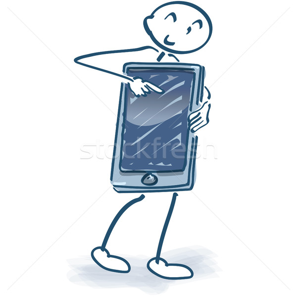 Pálcikaember okostelefon üzlet hálózat mobil portré Stock fotó © Ustofre9
