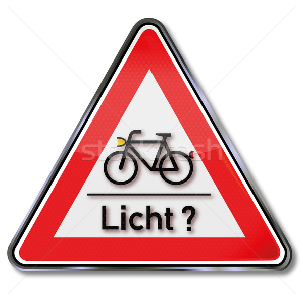 Sign with bicycle and light test Stock photo © Ustofre9