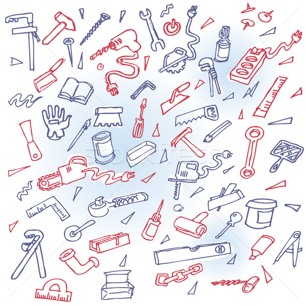 Phone doodles with different tools for workers Stock photo © Ustofre9