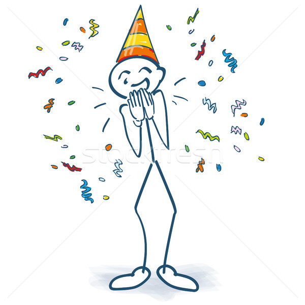 Stick figure with birthday hat and confetti Stock photo © Ustofre9