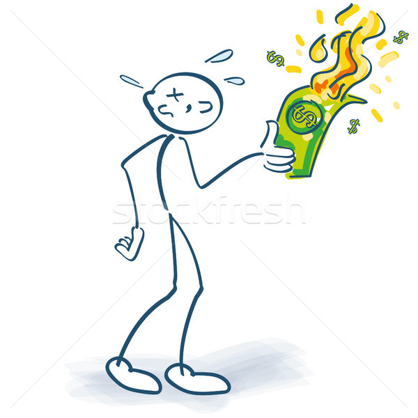 Stick figure burns down a dollar note Stock photo © Ustofre9