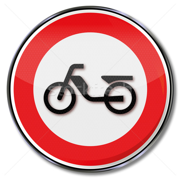 Traffic sign prohibiting mopeds and scooters Stock photo © Ustofre9