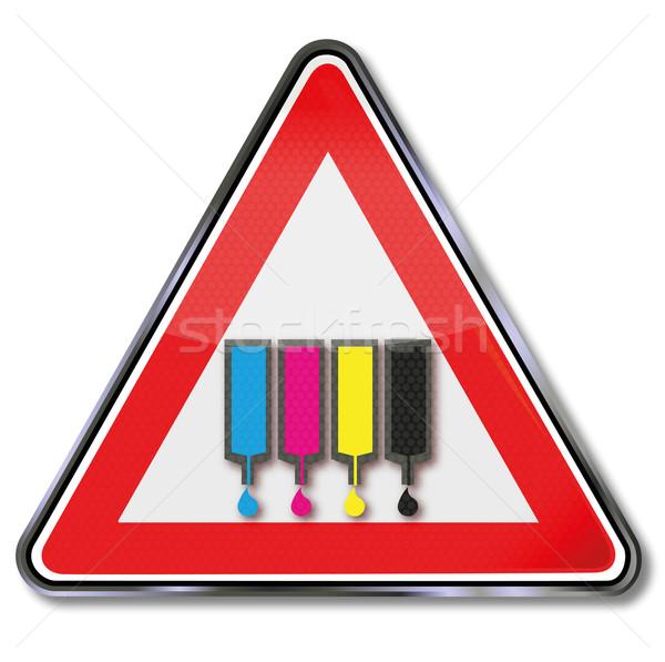 знак чернила признаков принтер гнева желтый Сток-фото © Ustofre9