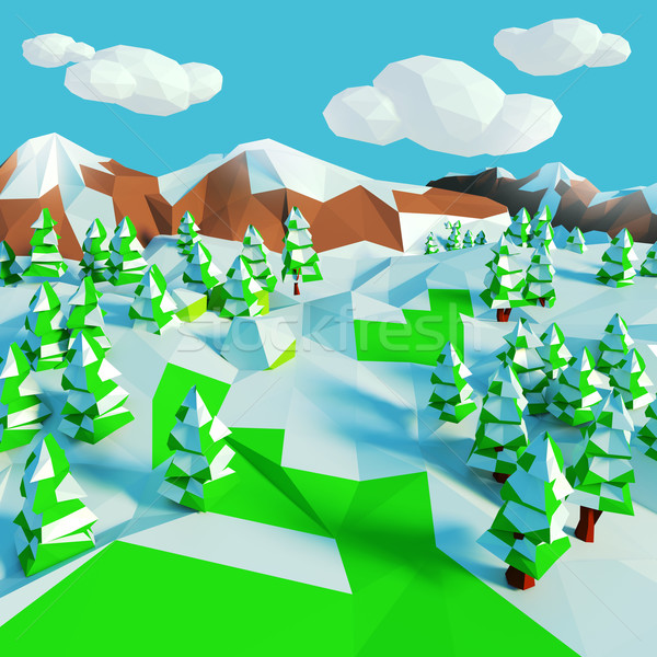 Small snow landscape with fir trees  Stock photo © Ustofre9