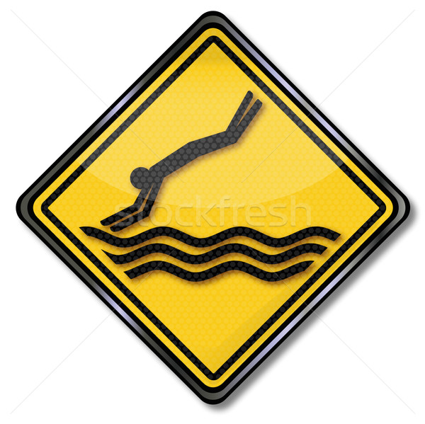 Sign attention please do not jump into the water Stock photo © Ustofre9