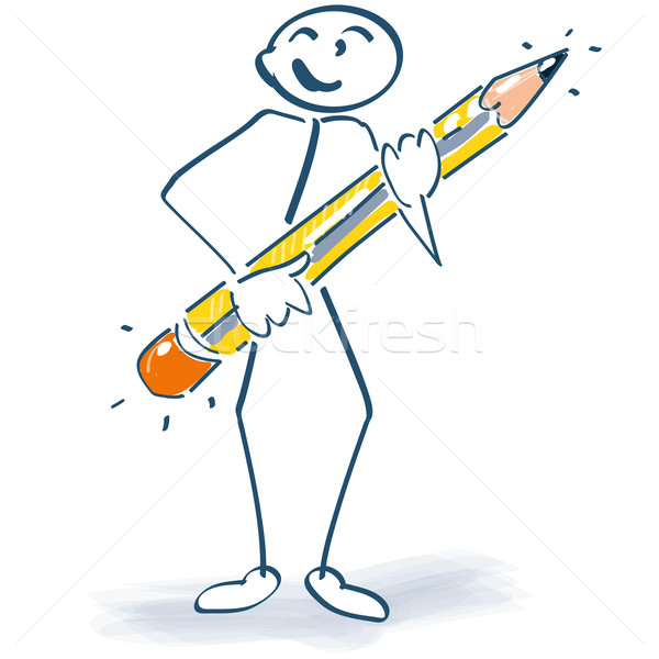 Stick figure with a pen Stock photo © Ustofre9