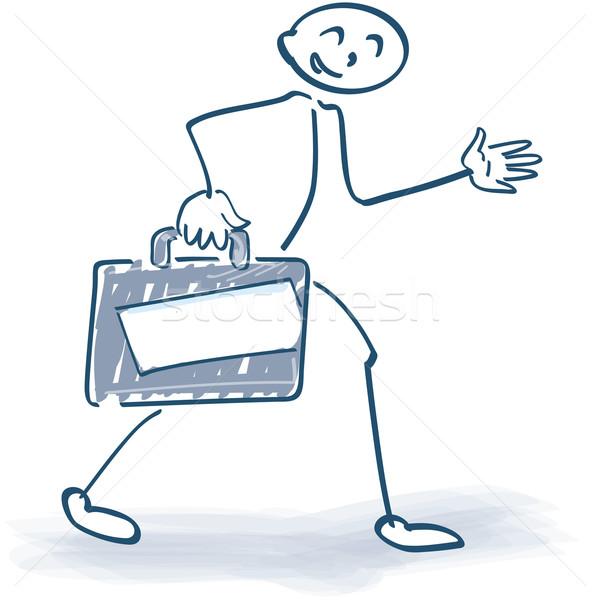 Stick figure with suitcase Stock photo © Ustofre9