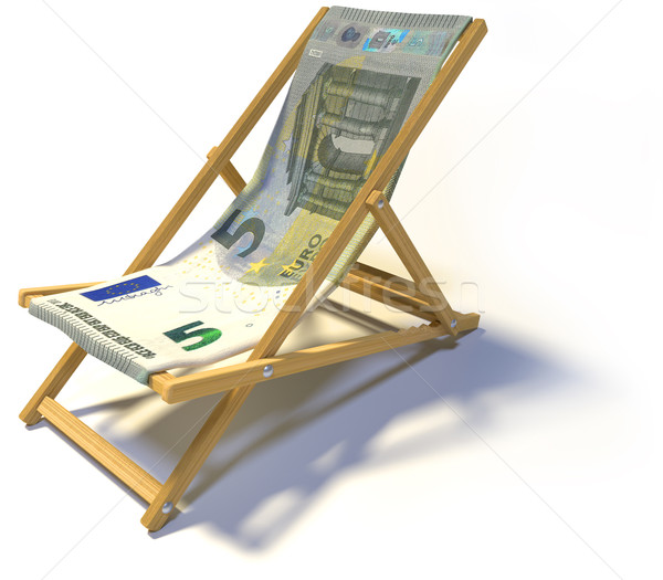 Folding deck chair with five euro Stock photo © Ustofre9