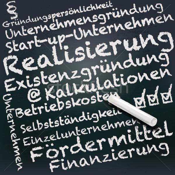 Blackboard krijt business stichting zwarte raadpleging Stockfoto © Ustofre9