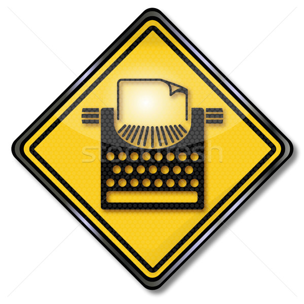 Assinar máquina de escrever escrita computador livro teclado Foto stock © Ustofre9