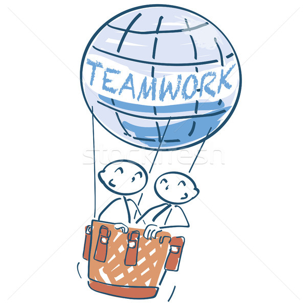 Stick figure in a hot air balloon and teamwork Stock photo © Ustofre9
