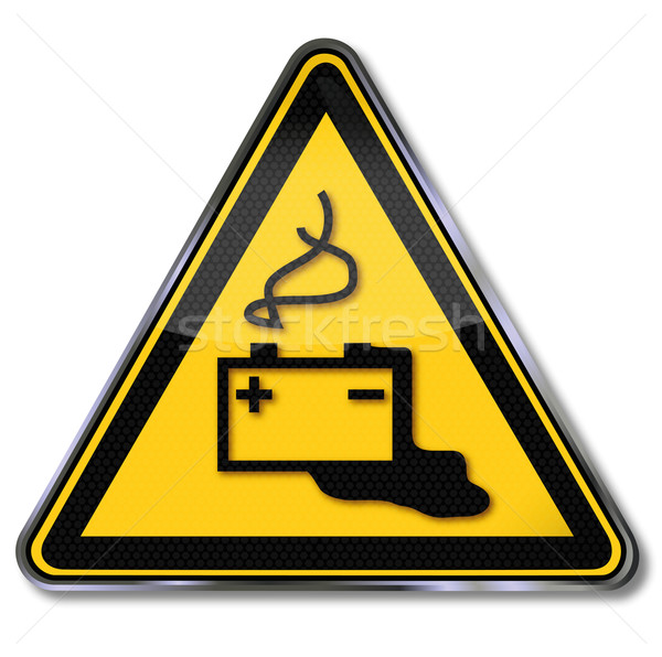 Danger sign caution battery, electric shock, and battery acid Stock photo © Ustofre9