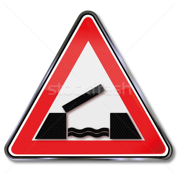 Verkeersbord opknoping brug teken tijd rivier Stockfoto © Ustofre9