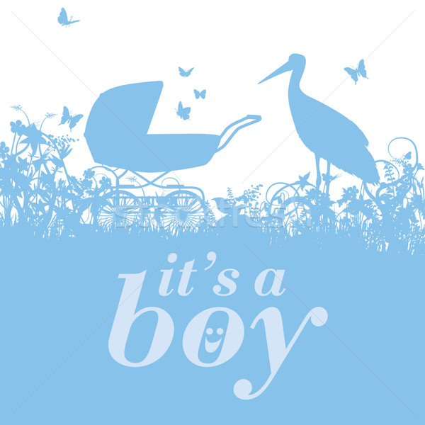 Stork and baby carriage with it's a boy Stock photo © Ustofre9