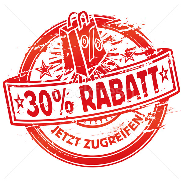 Rubber stamp 30% off and shopping bag Stock photo © Ustofre9