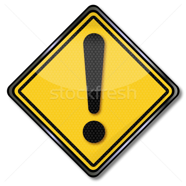Sign yellow call and exclamation mark Stock photo © Ustofre9