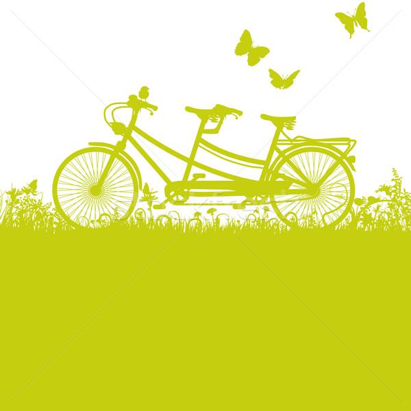 велосипед тандем цветы весны трава карта Сток-фото © Ustofre9