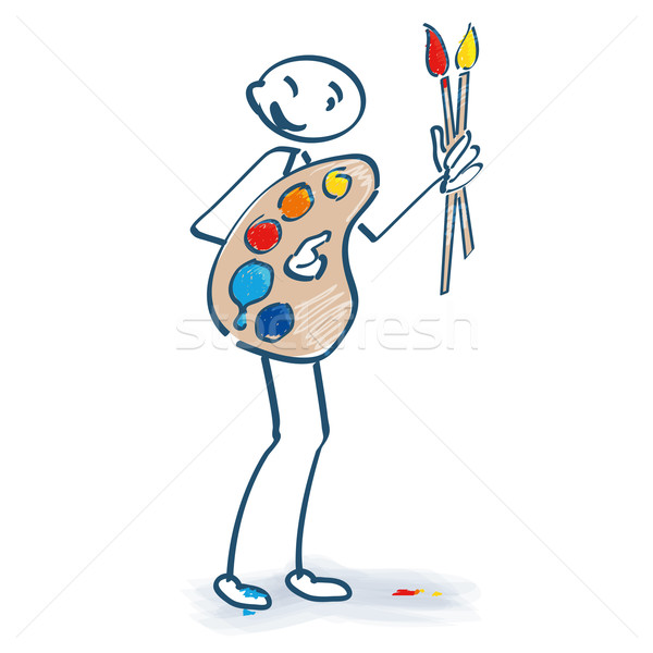 Stick figure with painters pallet Stock photo © Ustofre9