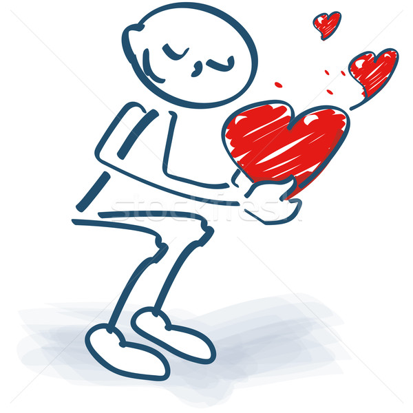 Stick figures crouching and loving red hearts Stock photo © Ustofre9