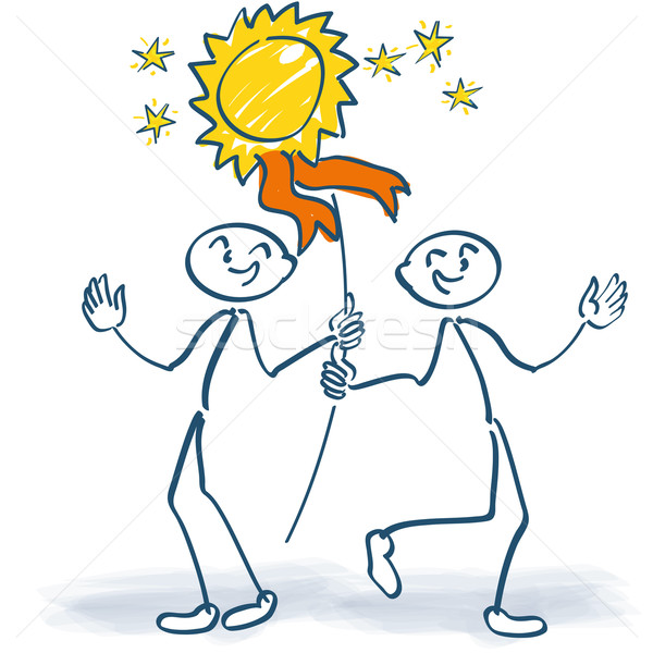 Two stick figures cheering with a plaque  Stock photo © Ustofre9