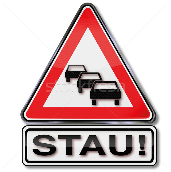 Traffic sign warning  traffic jam Stock photo © Ustofre9