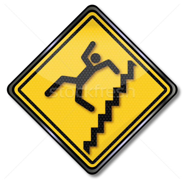 Warning sign staircase crash and  stair fall Stock photo © Ustofre9