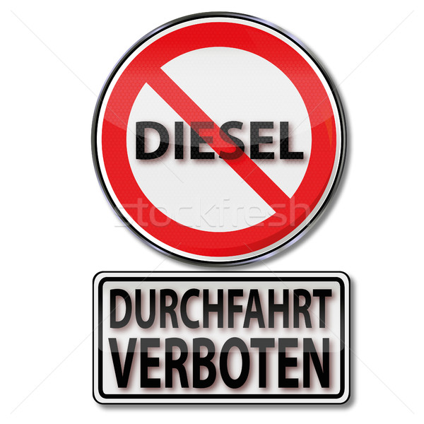 Shield with passage prohibited for diesel vehicles Stock photo © Ustofre9