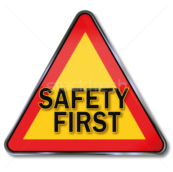 Road sign with safety first Stock photo © Ustofre9