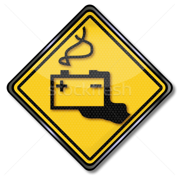 Warning sign car battery and battery acid Stock photo © Ustofre9