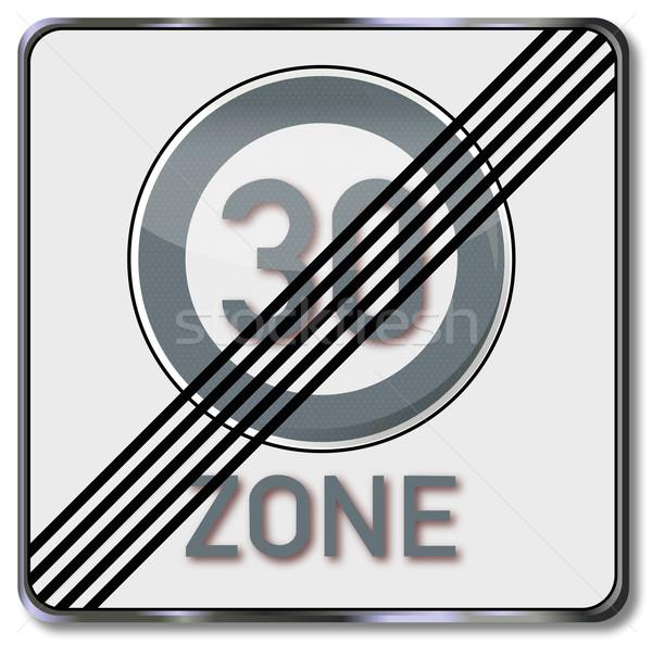 Stock fotó: Közlekedési · tábla · 30 · sebesség · forgalom · feliratok · gomb