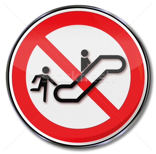 Divieto segno non eseguire up scala mobile Foto d'archivio © Ustofre9