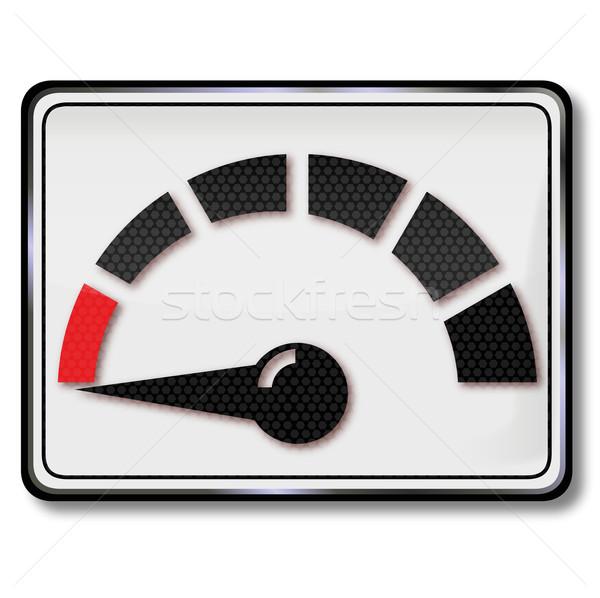 Felirat üzemanyagszint-jelző üzemanyag fogyasztás piros erő Stock fotó © Ustofre9
