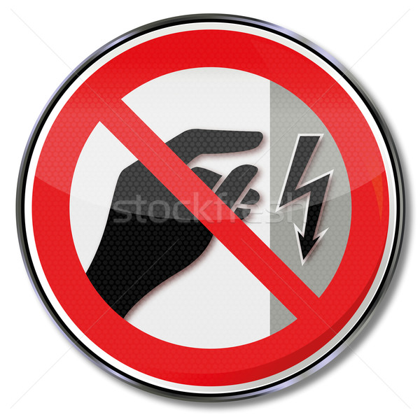 Prohibition sign not touch, housing is under voltage Stock photo © Ustofre9