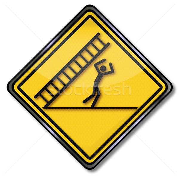Danger Sign caution falling ladder and misfortune  Stock photo © Ustofre9