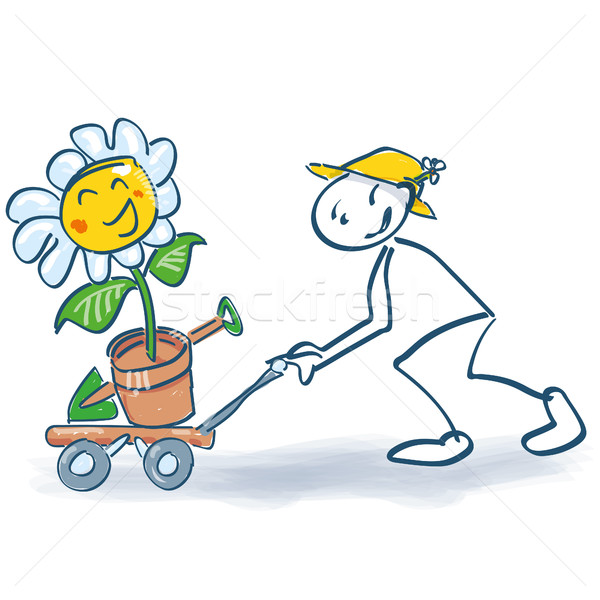 Stick figure with a flower on the sackcloth Stock photo © Ustofre9