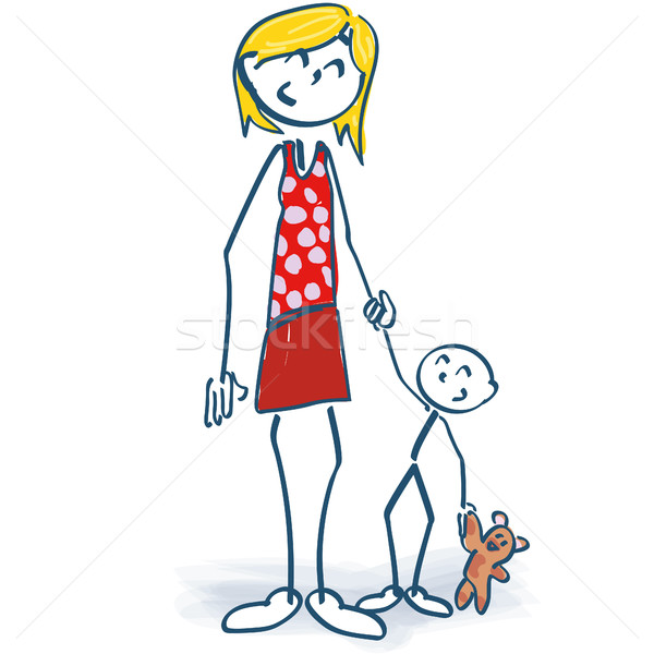 Stick figure as a mother with child Stock photo © Ustofre9
