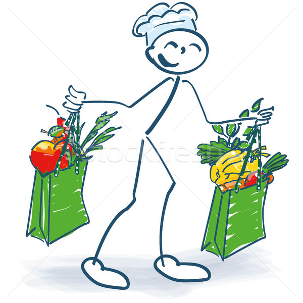 Stick figure as a cook with two shopping bags full of vegetables Stock photo © Ustofre9