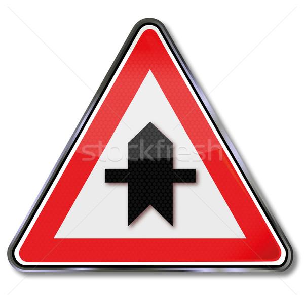 Közlekedési tábla prioritás következő kereszteződés utca felirat Stock fotó © Ustofre9