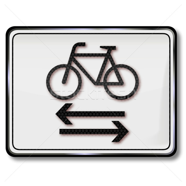 Cycling and pedestrian traffic sign Stock photo © Ustofre9
