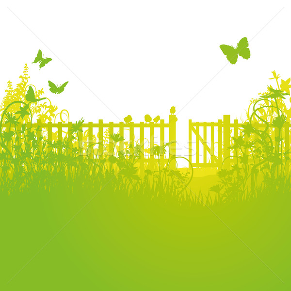 Garden fence and open gates Stock photo © Ustofre9