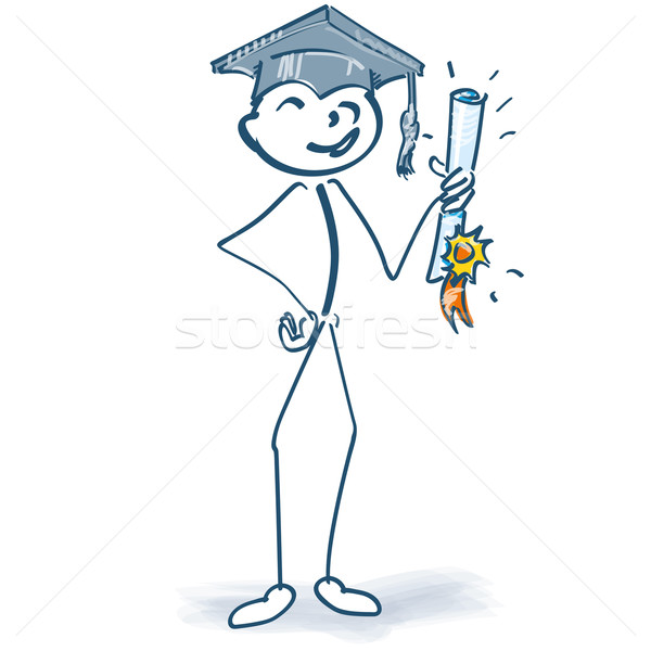 Stick figure with graduation and finally on target Stock photo © Ustofre9