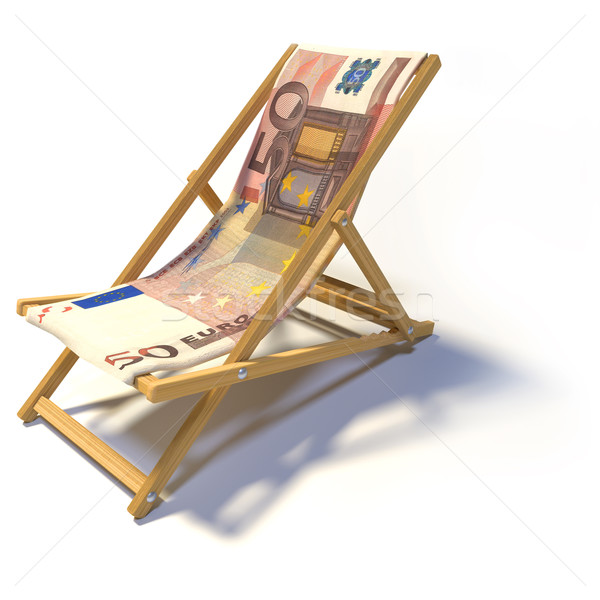Chaise longue 50 euros affaires banque dormir Photo stock © Ustofre9