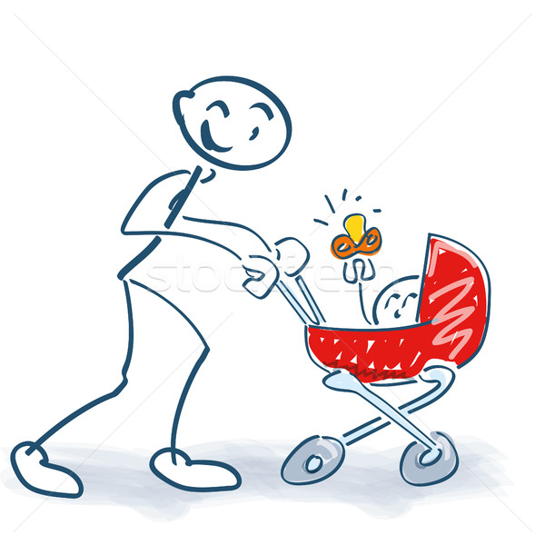 Pálcikaember babakocsi gyermek család szeretet biztonság Stock fotó © Ustofre9