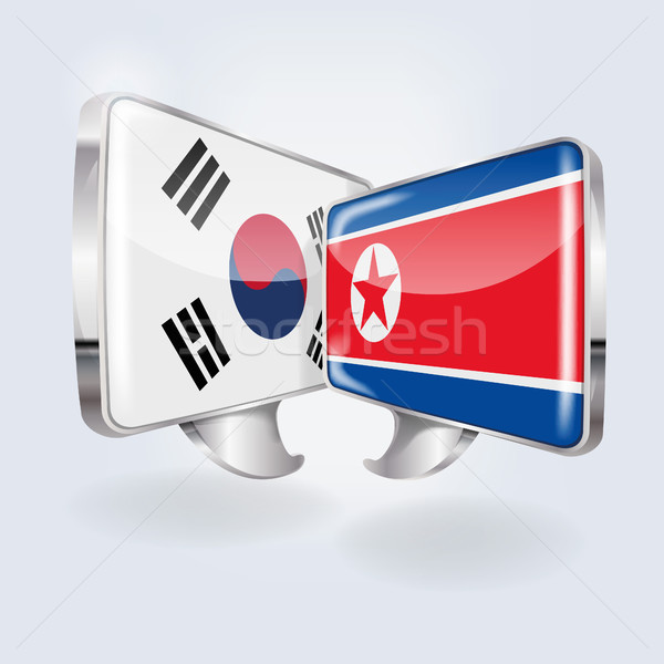Speech bubbles with South Korea and North Korea Stock photo © Ustofre9