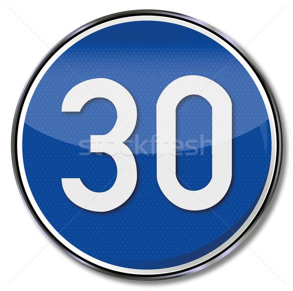 дорожный знак скорости рекомендация 30 знак синий Сток-фото © Ustofre9