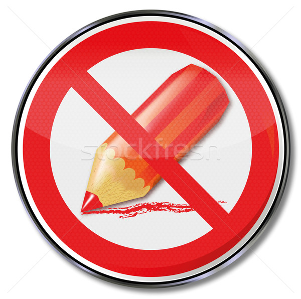 Sign prohibition of strokes with a red pen Stock photo © Ustofre9