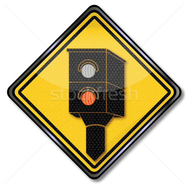 Sign caution radar and lightning Stock photo © Ustofre9