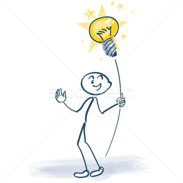 Stick figure with light bulb on a stick Stock photo © Ustofre9