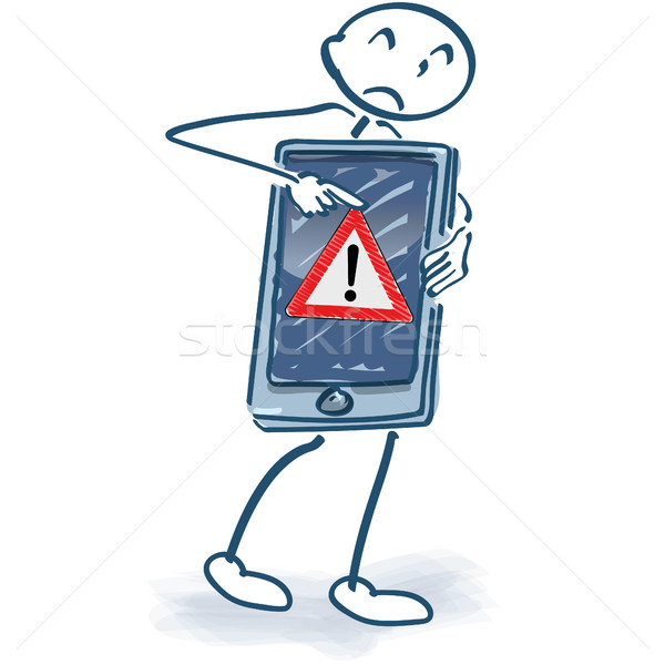 Stick figure with smartphone and error message Stock photo © Ustofre9