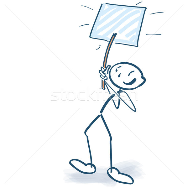 Stick figure marching with sign in the air Stock photo © Ustofre9